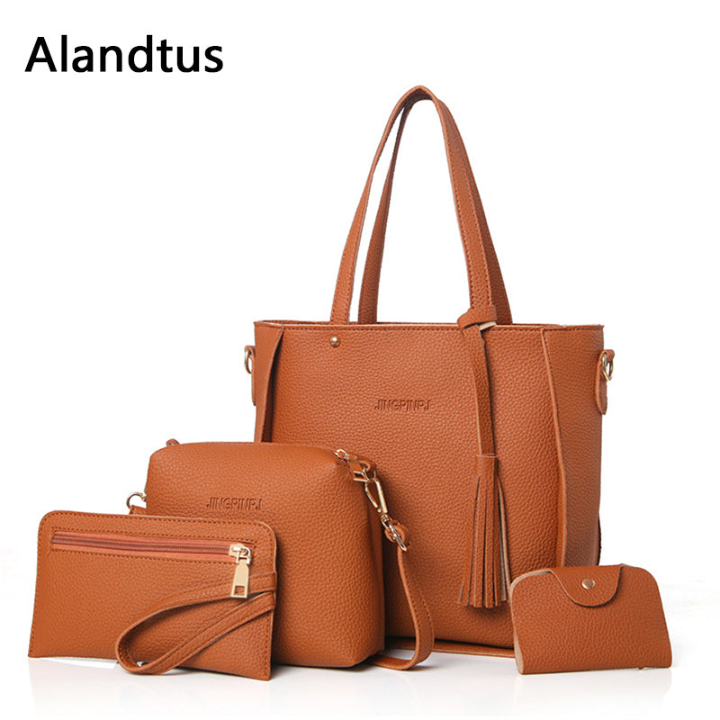 Alandtus Set 4 Pcs PU Leather Women Bags