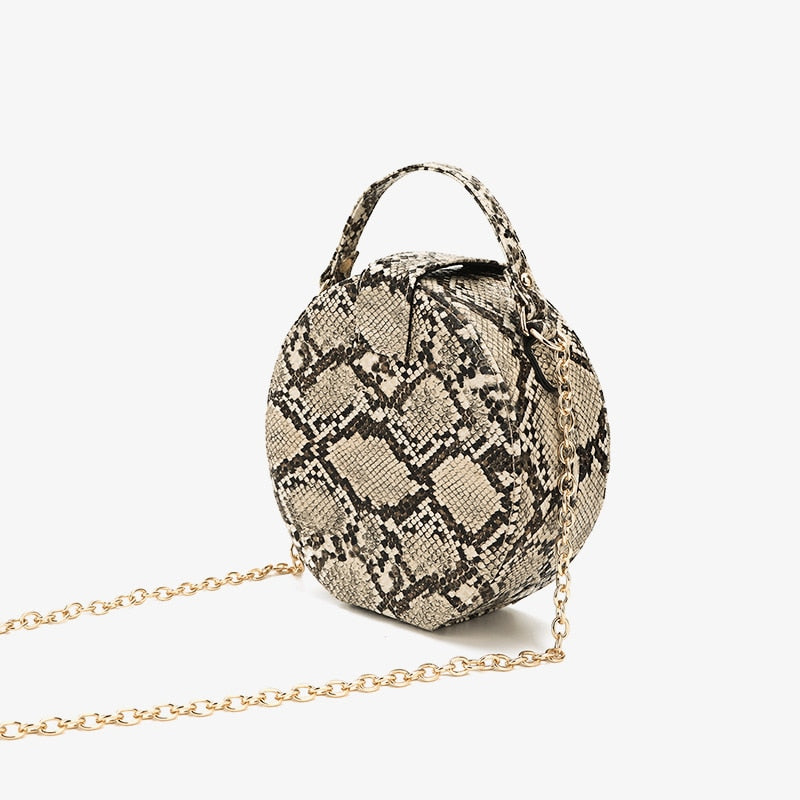 Women Handbags Retro Serpentine Chain Round Bag Printed Small PU Snake Leather Shoulder Crossbody Bags Female Messenger Bag 431