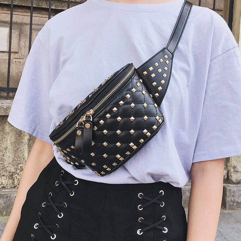 Fashion Women's Waist pack Shoulder Bag fanny High-quality Rivet small bags for women 2019 New PU Women's white waist bag
