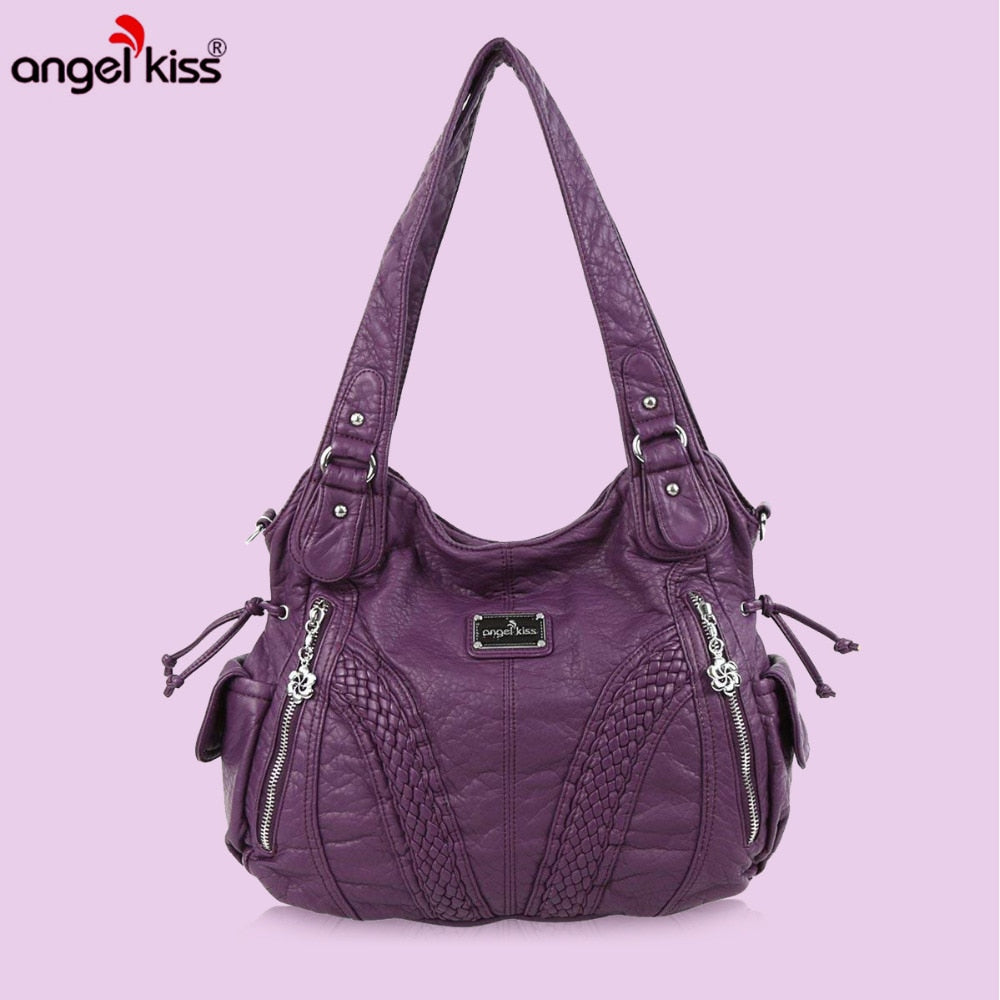 Angelkiss Women Purses and Handbags Washed Pu Lether Large Shoulder Bags On Sale