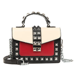 Leather Ladies Handbags Mini Chain Crossbody Bags for Women Fashion Shoulder Bag Rivet Flap Tote Red Messenger Bag Female Bolsos