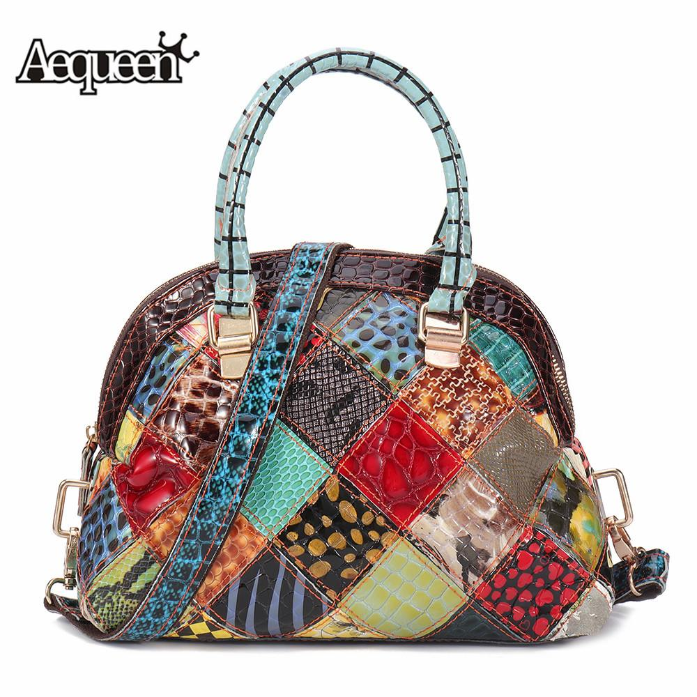Luxury Designer Women Genuine Leather Hand Bags Bohemian Floral Crossbody Bags Vintage Patchwork Shell Handbags Feminine Bolsa