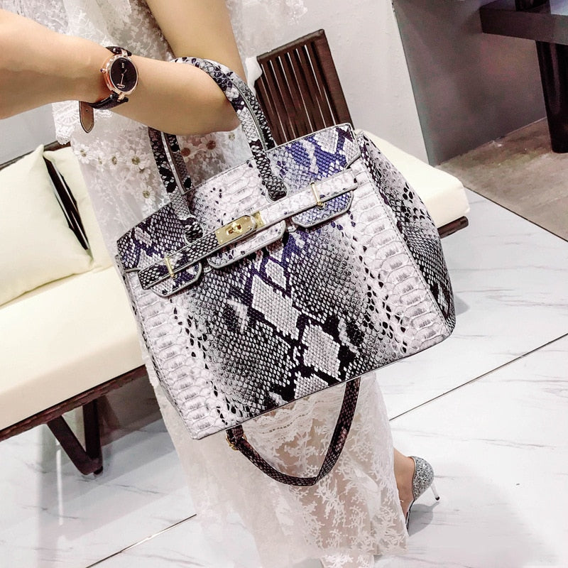 SGARR Luxury Designer Women PU Leather Handbags Fashion Ladies Serpentine Patten Shoulder Bag Casual Female Tote Crossbody Bags