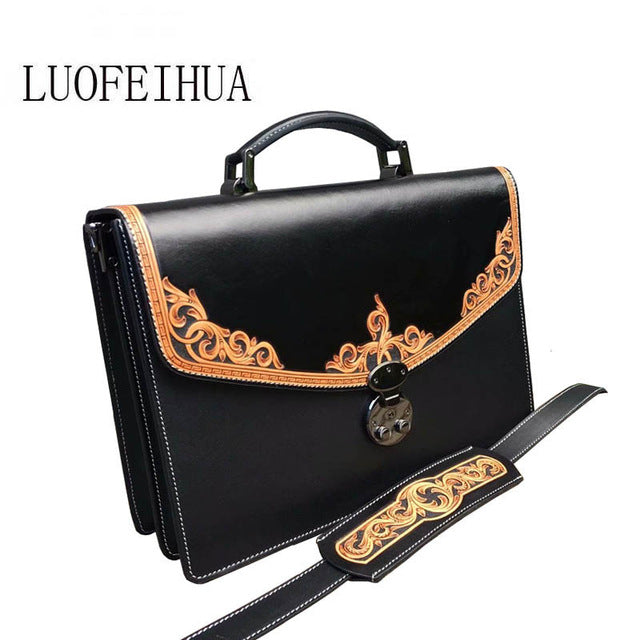 LUOFEIHUA  2019 new handmade leather handbag Leather carving handbag Vintage brand one shoulder messenger bag