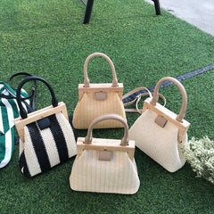 Straw Bag Wooden Top Handle Clip Bag