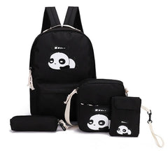 4pcs/set Canvas Women Backpacks Schoolbag Printing Cute Panda School Bag Backpack For Teenager Girls Rucksack Moclila Sac WM750Z