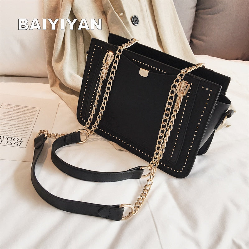 Luxury Rivet Handbag Women's Bag Designer Brand Metal Chain Tote Bag Casual PU Leather Crossbody Bag