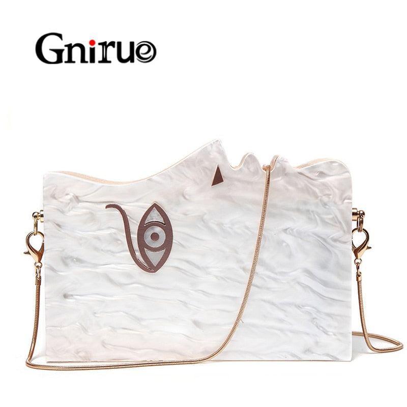 2019 Wood Personality Splicing White Acrylic Retro Unique Half Face Hard Box Evening Bag Ridesmaid Handbag Luxury Clutch Purses