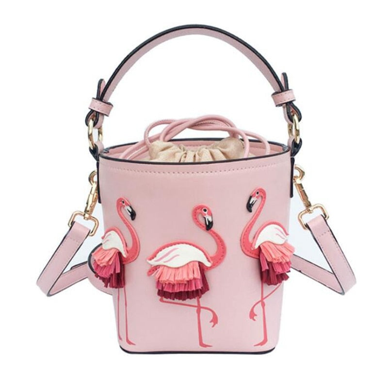 Brand Fashion Show Bag Women Bags PU Leaather Female Flamingo Bucket bag Women Shoulder Bags Designer Handbags  XS-92