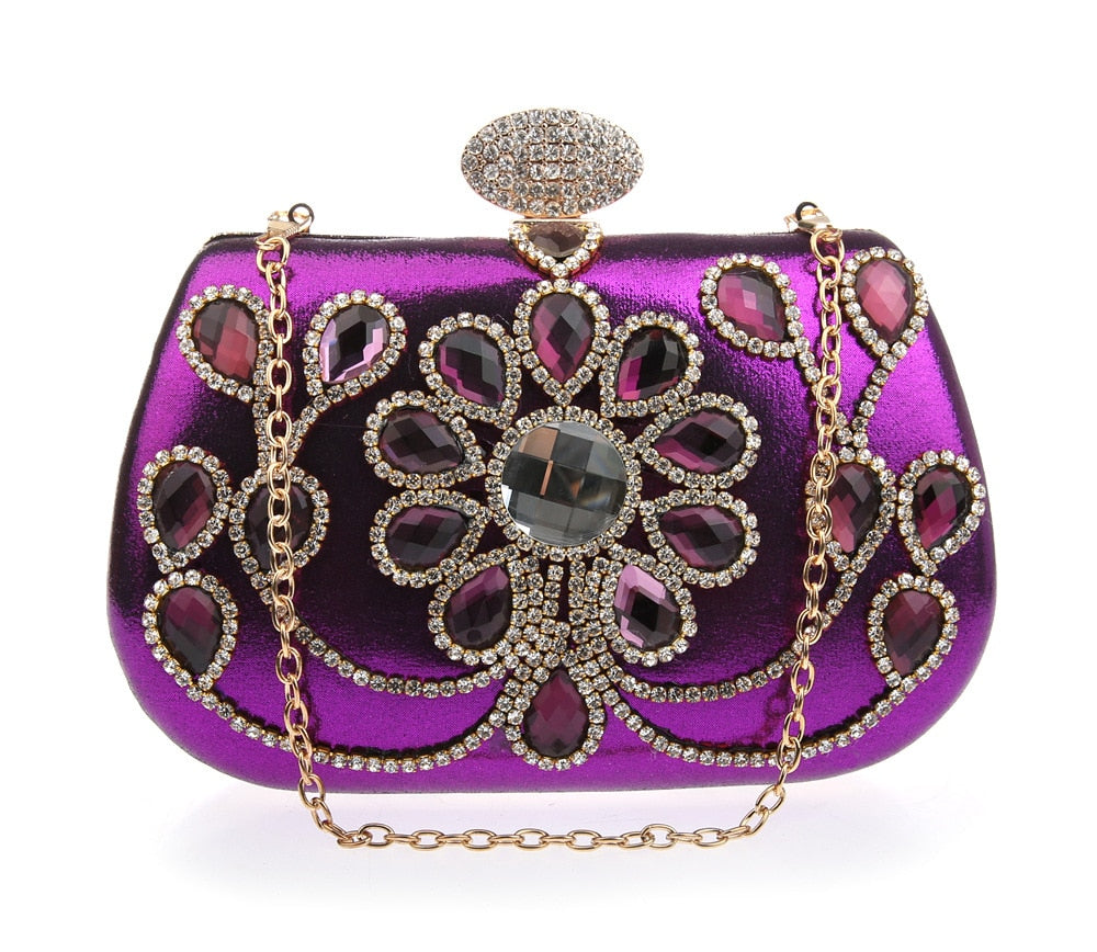 Diamond Evening Bags Red Crystal Clutch Bag Women Bag purses and handbags wedding wallets purple bolsa clutches WY184