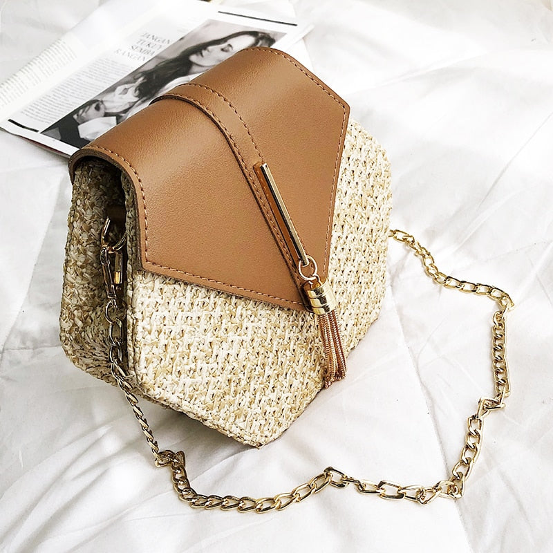 Hexagon Mulit Style Straw+pu Handbags