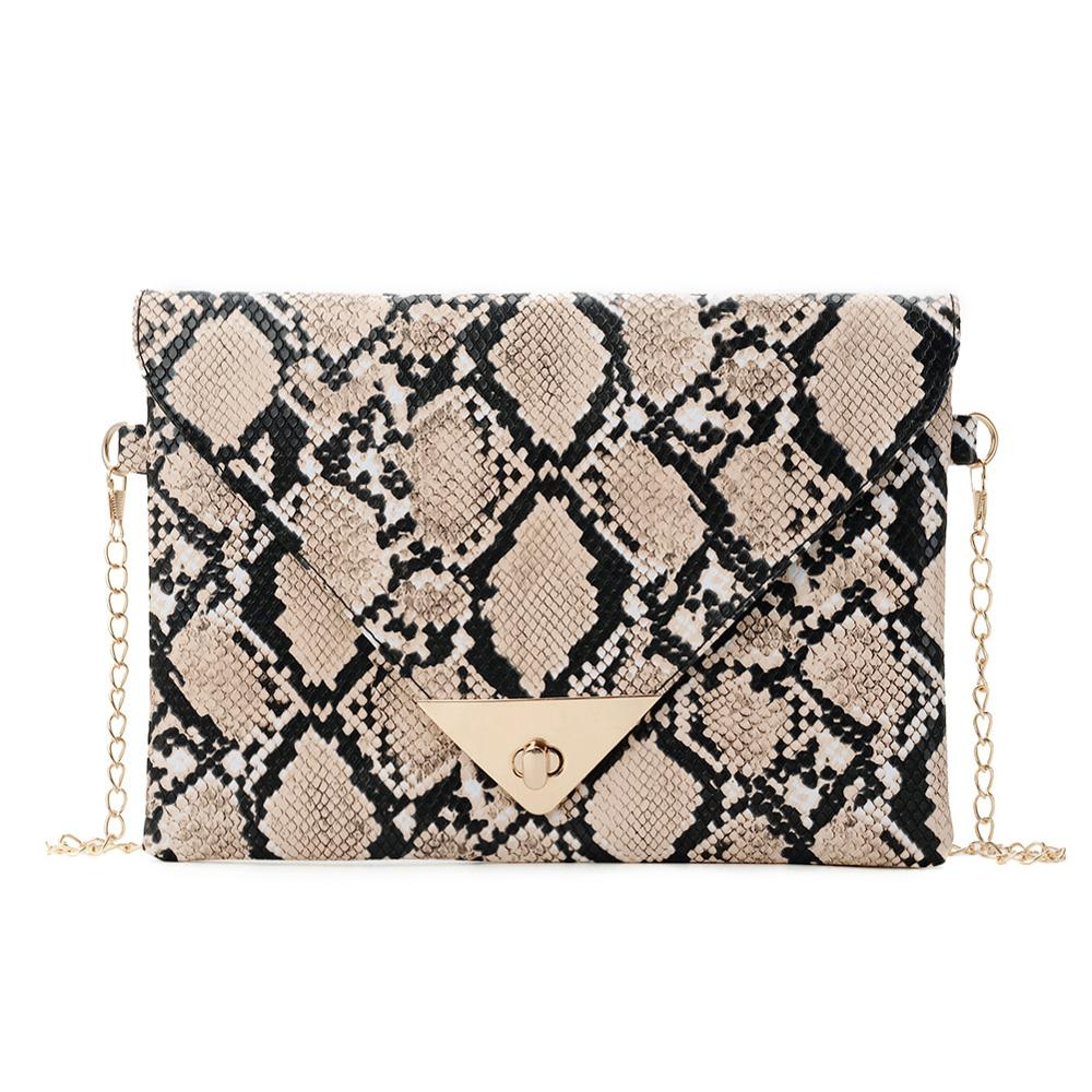 Women Shoulder Snake Skin Print Envelope Messenger Bags Fashion Crossbody Clutch Bag Sac A Dos Bolsas Feminina Mujer Sac A Main