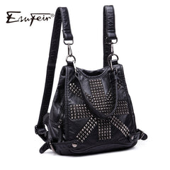 ESUFEIR Brand Soft Washed Leather Women Backpack Fashion Rivet Design Quality PU Girl Backpacks School Bag Casual Daily Backpack