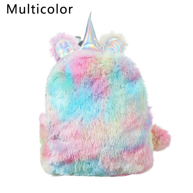 New 2019 Mini Unicorn Girl Cute Bags For Women Winter Faux Fur Small Cartoon Hologram Leather Teenager Schoolbag Plush Backpack