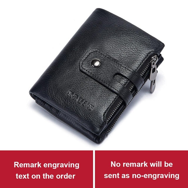 Free Engraving Name Genuine Leather Wallet