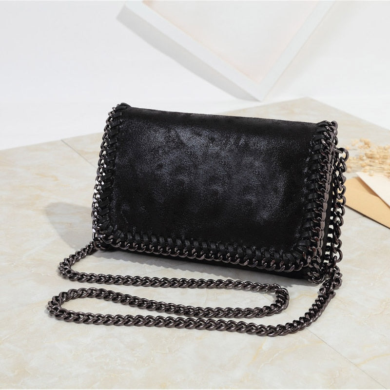 Fashion women's shoulder bag Woven chain crossbody bags for Female Soft and shiny clutches Sling Message Bags Silver bolsas