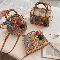 Bamboo Bag Women Basket Bucket