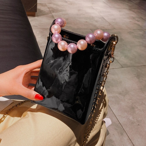 Korean Fashion Women's Pearl Bag Top Handle Small Flap Bags Crossbody Bags for Women Designer Handbags Clutch Purse 2019