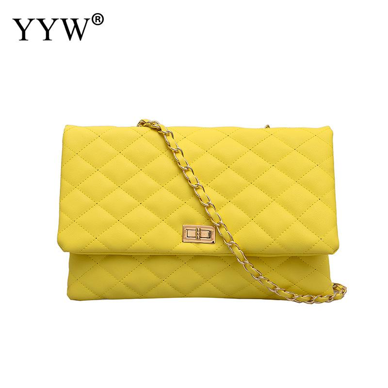 2019 New yellow Clutch Women Black White Chain Shoulder Bag Leather Yellow Soft bag Evening Bag Ladies Hand Bag Silver Handbag