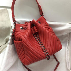 Caker Women Genuine Leather Drawstring Shoulder Bags Embroidery V Diamond Lattice Handbag Chain Red Black Bucket Bags