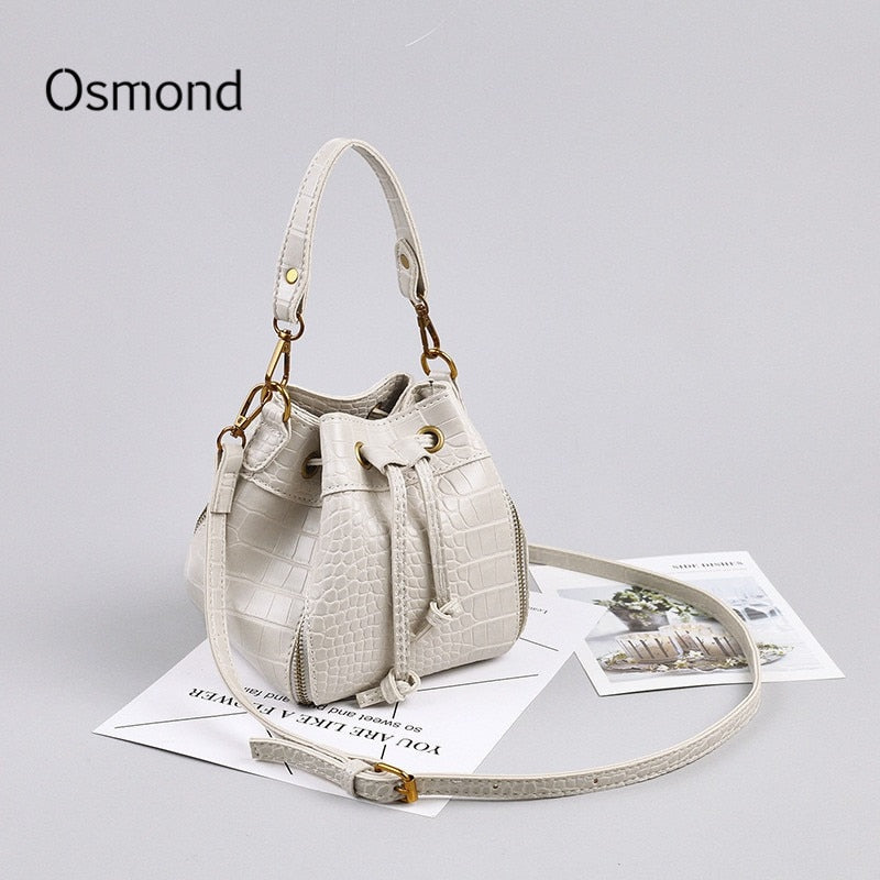 White Women Crocodile Leather Handbag Vintage Small Bucket Bag Female Luxury Solid Messenger Crossbody Bag Mini Clutch Purse