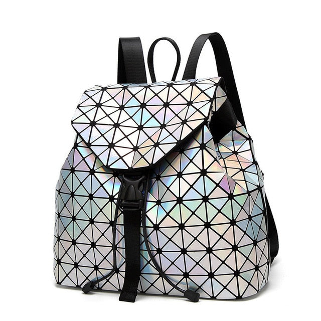 Women Backpack Geometric Plaid Sequin Female Backpacks For Teenage Girls Bagpack Drawstring Bag Holographic Backpack