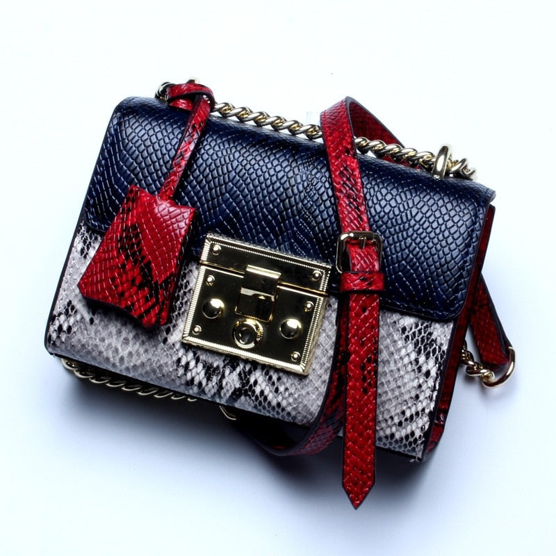 Fashion Serpentine Genuine Leather Women Bag Luxury Handbags Gold Buckle Small Messenger Shoulder Bag Panelled Crossbody Bags