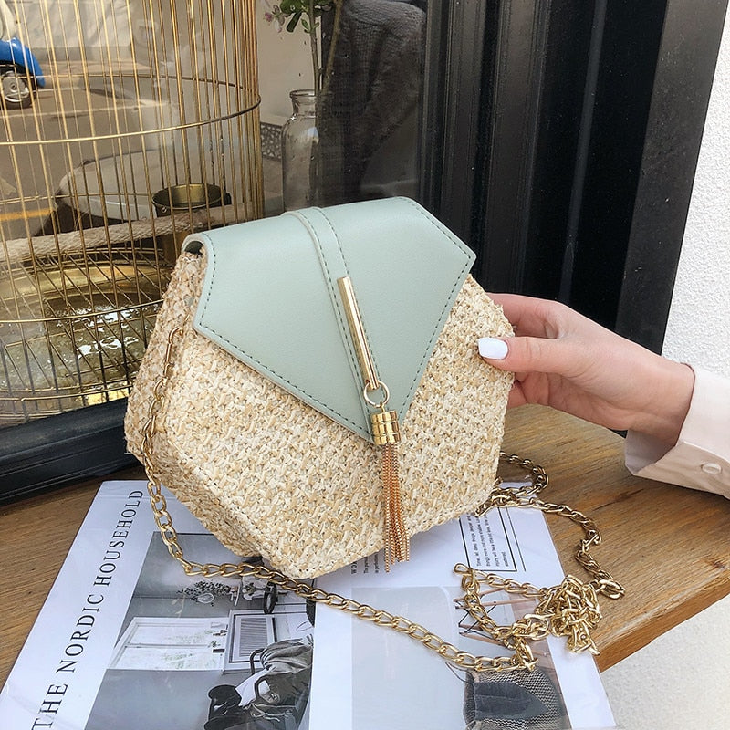Hexagon Style Straw+leather Handbag