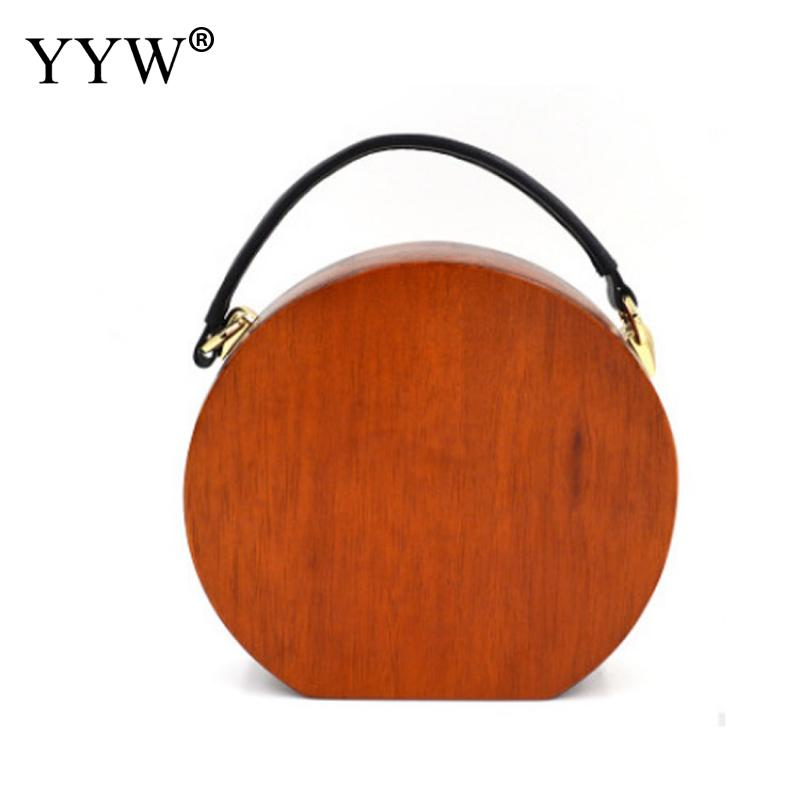 Sandal Wooden Handbag With Chain Round Circular Wooden Unique Hand Bags Light Brown Wood Clutch Evening Fashion Wallet Purse New