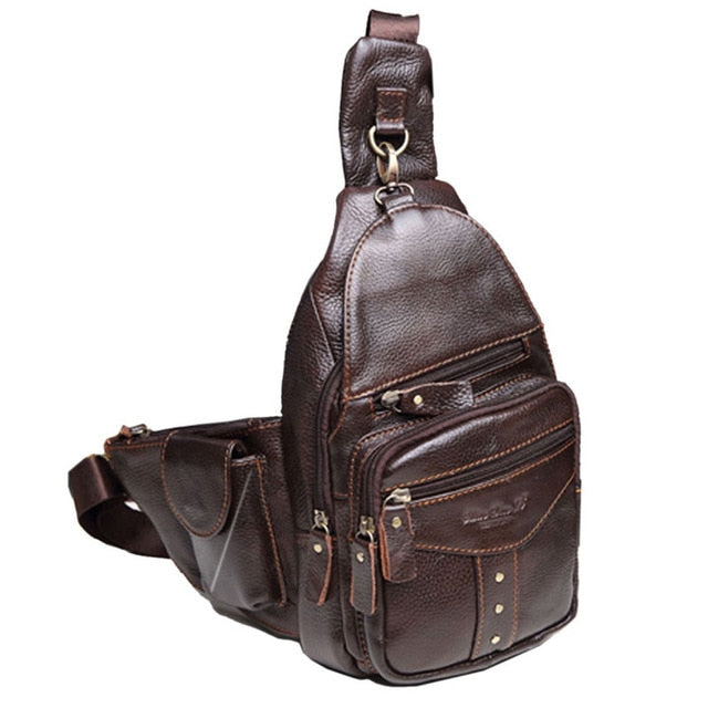 Men Genuine Leather Cowhide Sling Chest Bag Travel Riding Hiking Studded Cross Body Messenger Shoulder Day Pack Tivets New