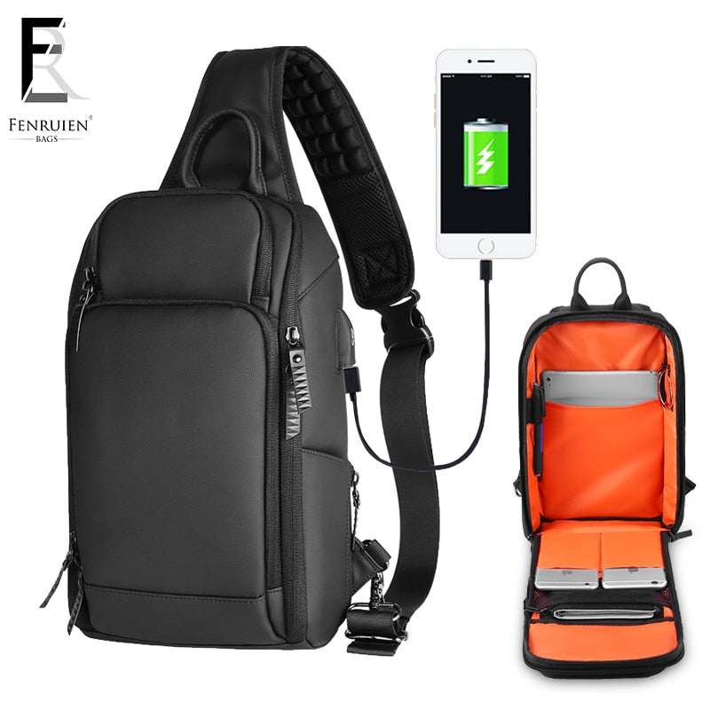 FRN 2019 USB Charging Chest Pack Men Casual Shoulder Crossbody Bag Chest Bag Water Repellent Travel Messenger Bag Male Sling Bag