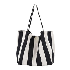 Striped Big Canvas Tote Bag for Women Summer Beach Classical Fabric Soft Large Handbag 2019 Female Large Casual Top-handle Bag