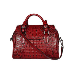 luxury alligator pattern totes for women novelty 100% real cow leather red green purple one shoulder bag vintage crossbody bag