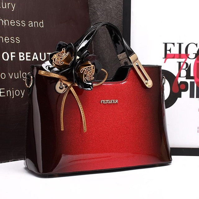 Women Leather Handbag High Quality Floral Evening Bag 2018 New Candy Black Red Purple Patent Leather Designer Handbag Purse Tote