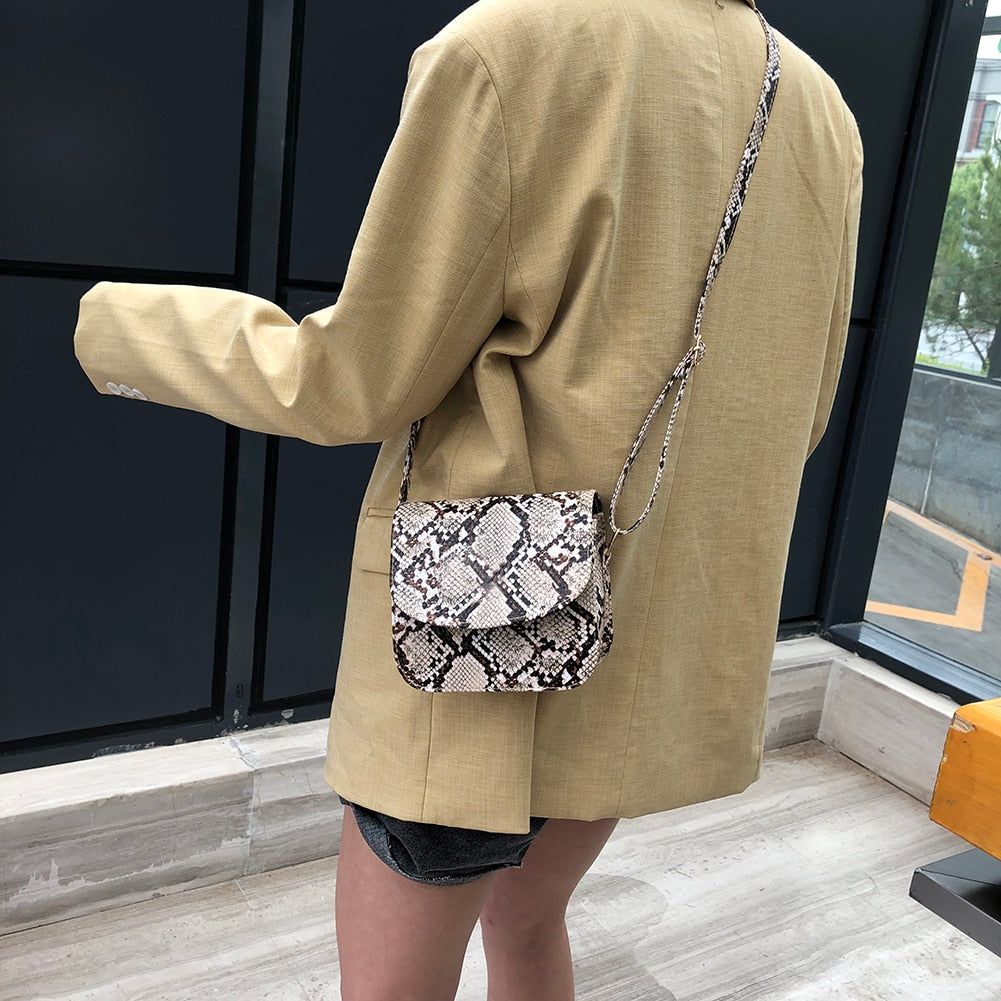 Women Handbags Retro Serpentine Chain Round Bag Printed Small PU Snake Leather Shoulder Crossbody Bags Female Messenger Bag