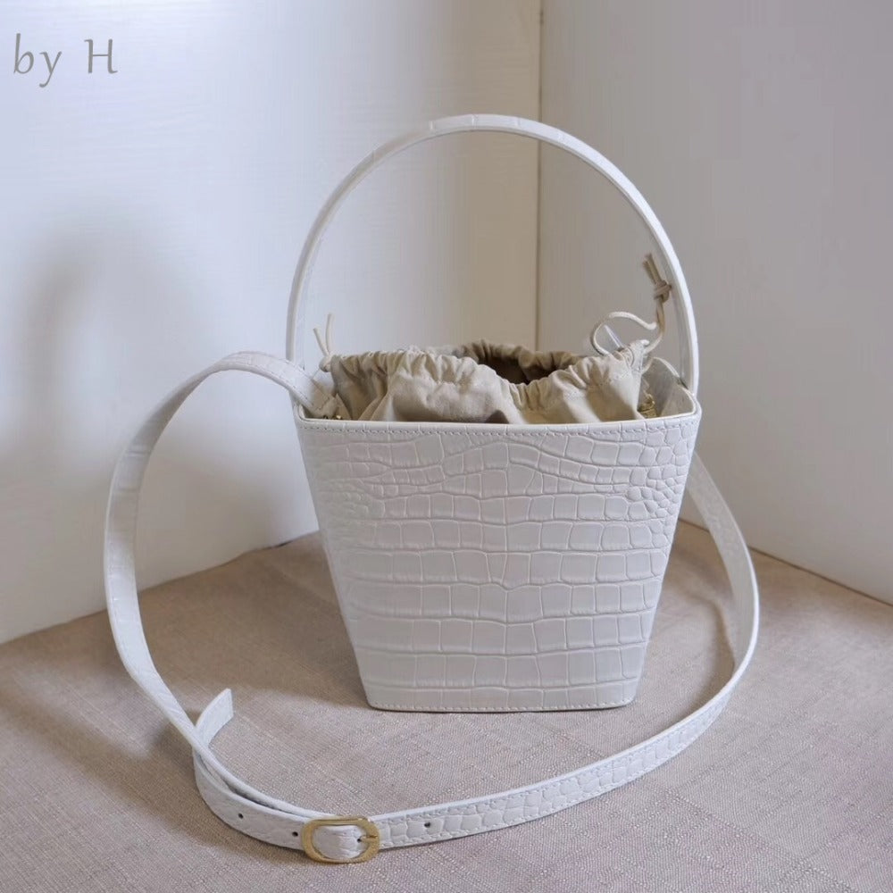 by H effortless chic designers luxury bucket bag white handbags Trapezoidal bag shoulder bags alligator embossed totes girl bags