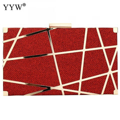 Gold Red Black Evening Clutch Bag with Shoulder Strap Special Women Metal Clutch Purse Cell Phone for Wedding Party Prom
