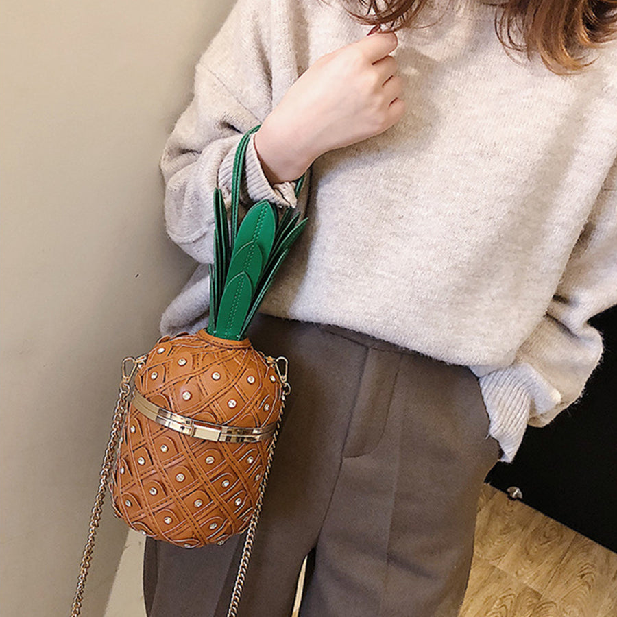 Harajuku Pineapple Shaped Chains Crossbody Bags Women Handbags Cute Rivet Shoulder Messenger Bag Ladies Girls Designer Purses