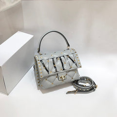 Luxury Women's Bags, Well-known Italian Fashion Brands Shoulder Bags, Genuine Leather Rivet Handbags, Letter Designer Tote Bags