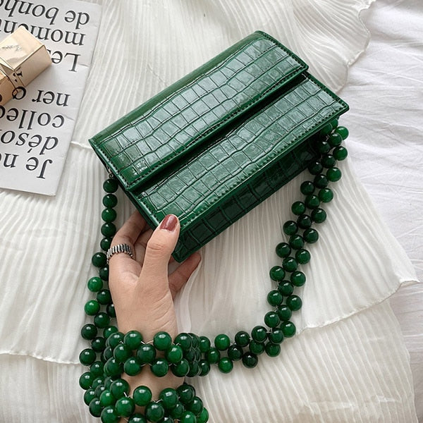 Beads Chain Crocodile Pattern Shoulder Bag Women New Korean Green Stone Pattern Messenger Bag Fashion Small Square Bag Ladies