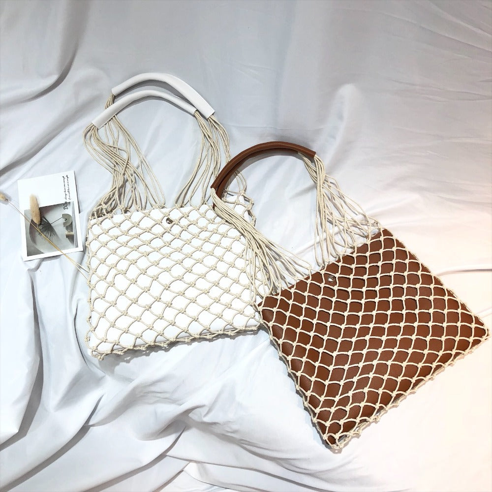 Designer Casual Hollow Net Flap Bag Pu Leather Hollow Women Shoulder Bag Hemp Rope Woven Handbag Bohemian Beach Bag Lady Handbag