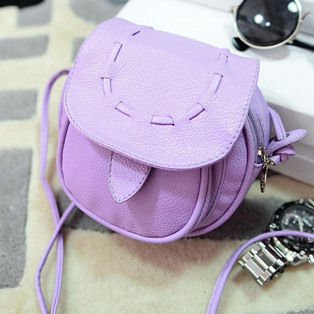 PU Leather Small Mini Crossbody Bags for Women Korean Cute Shoulder Bag Solid Candy Color Phone Pouch for Girls White Purple