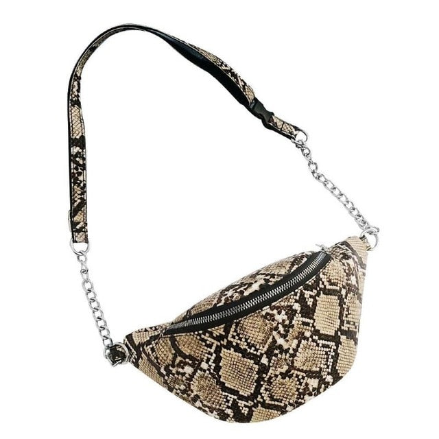 Snake Print Shoulder Messenger Handbags for Ladies Waist Chain Packs Women PU Leather Casual Crossbody Bags 2019 New Drop Shop