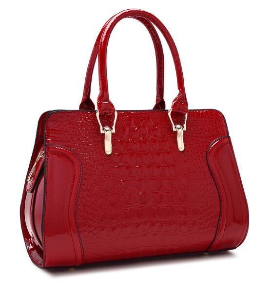 Bags for women 2019 new luxury brand crocodile pattern patent pu leather fashion handbag bride white Shoulder bag bolsos mujer