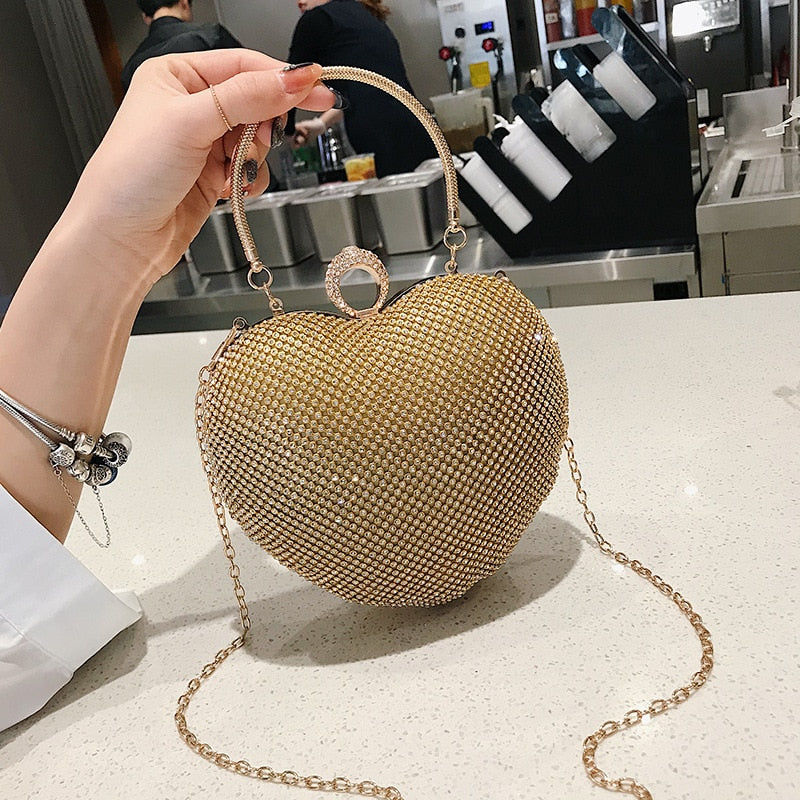 Luxury Beaded Crystal Party Women Evening Bag Gold Silver Black Bridal Wedding Heart Purse Bag For Women 2019