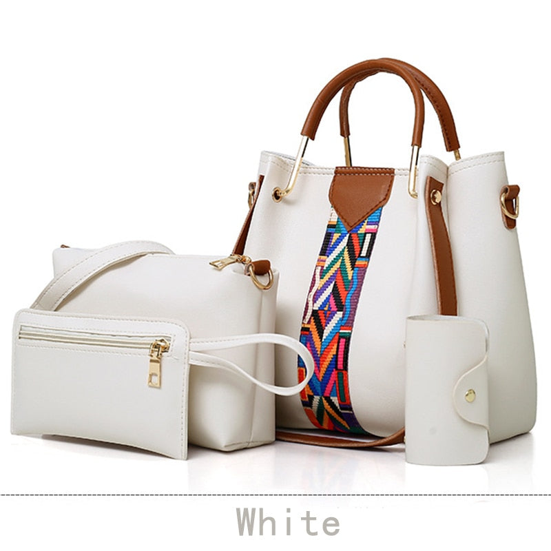 High Capacity White Messenger Bag Ladies Hand Bags Fashion One-Shoulder Hand Bucket Four-piece Lady Bag Set for Women
