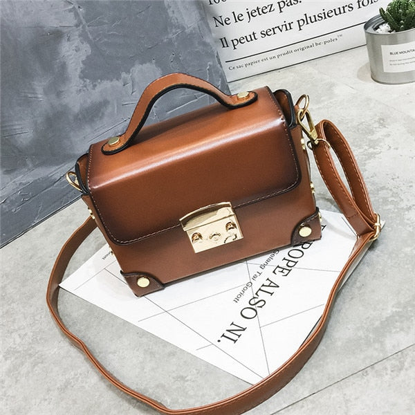 Women Famous Brand Box Handbag Fashion Trunk Luxury Pu Leather Bag Small Mini Vintage Retro Design Oil Skin Lock Tote Brown Bags