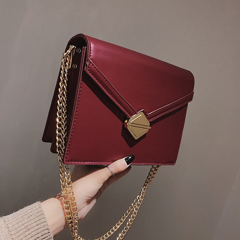 2018 Red Small Gold Chain Girls Shoulder Bags PU Leather Messenger Bags Luxury Handbags Women Bags Designer Crossbody Bags