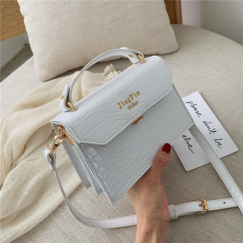 Luxury Handbags Women Bags Designer Leather Alligator Women's Small Shoulder Crossbody Bag White Green Yellow Bag For Women 2019