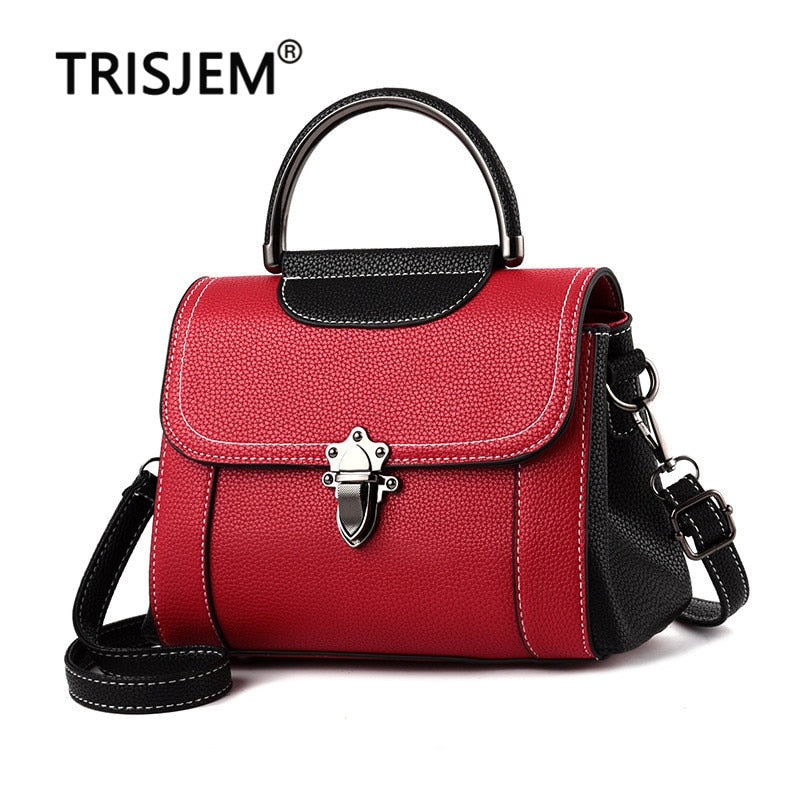 2019 New Arrival Women's Crossbody Bag Retro Pu lock Leather Handbag Ladies Handbags Fashion Small Bag Shoulder Bags Red Green